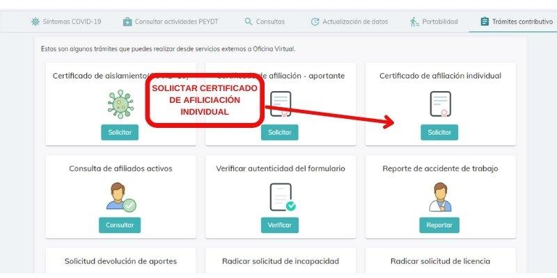 SOLICITAR CERTIFICADO DE AFILICIACIÓN INDIVIDUAL