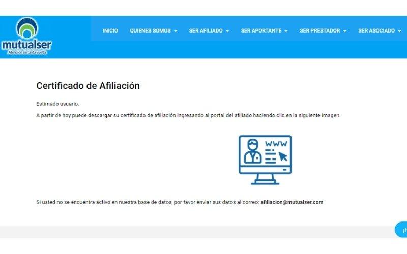 descargar certificado afiliación mutual ser