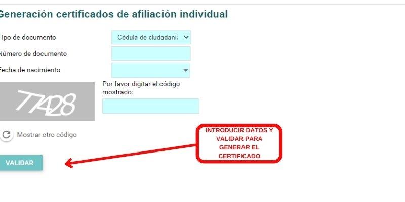 generacion certificado de afiliacion individual