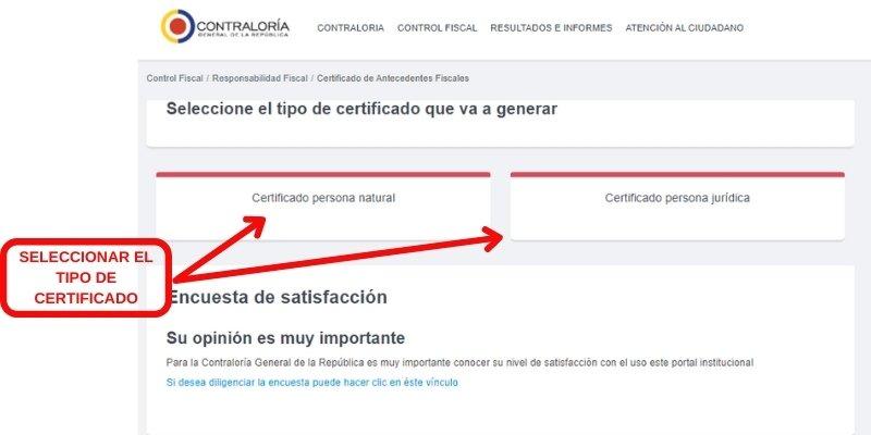 seleccionar el tipo de certificado