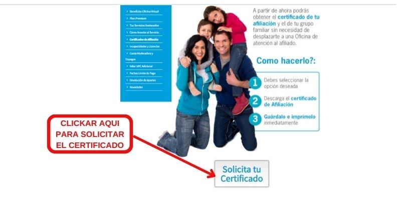 solicita certificado eps sanitas