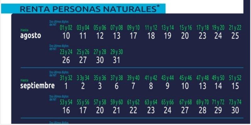 calendario personas naturales renta