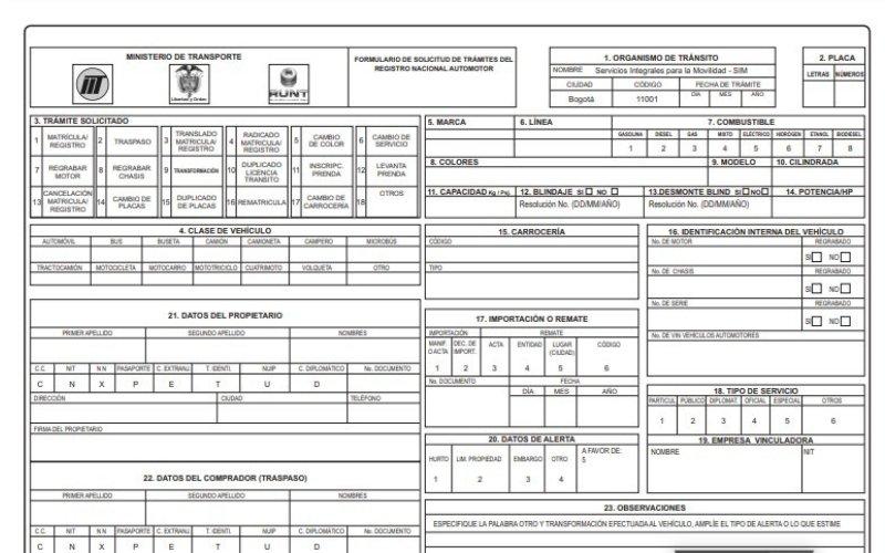 documento traspaso de vehiculo