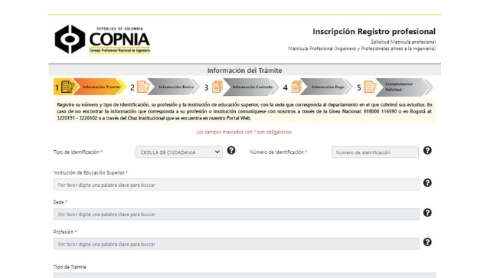 inscripcion registro profesional
